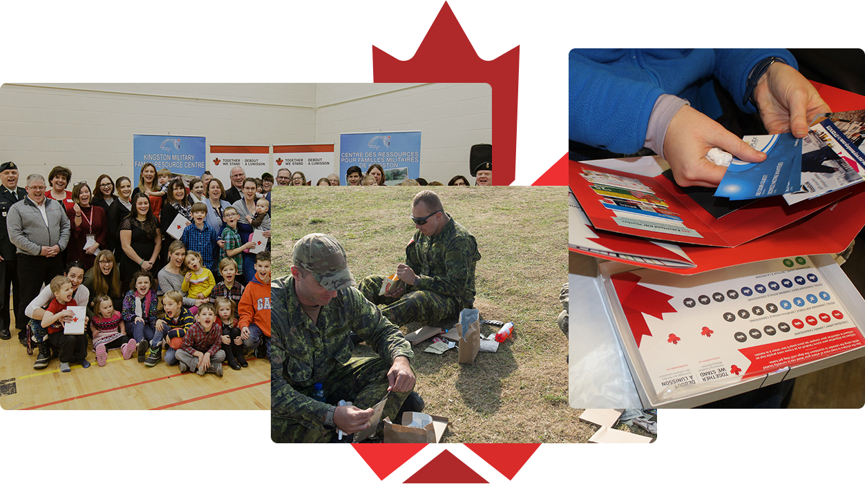 A collage relating to Together We Stand, featuring a family at an event, a care package, and a group of Canadian Armed Forces members