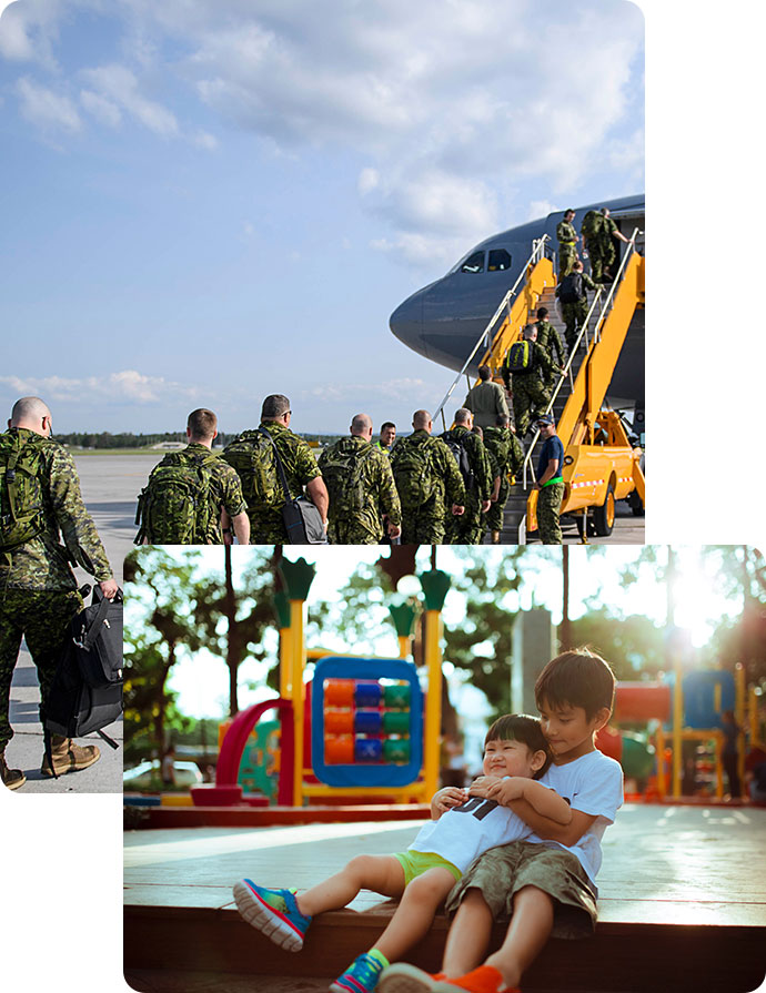 Imagery of Canadian Armed Forces members boarding a plan, played on top of an image of kids playing happily in a park.