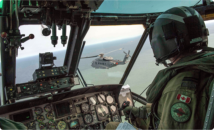 An image of a Canadian Armed Forces pilot on deployment