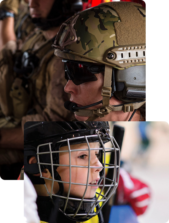 An image of a Canadian Armed Forces member wearing a helmet, layered with an image of a young boy wearing a hockey helmet